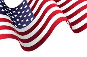 waving American flag illustration on white background