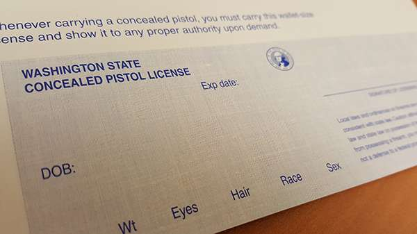 close-up of concealed pistol license