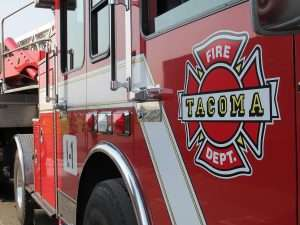 Close-up of Tacoma fire department fire truck