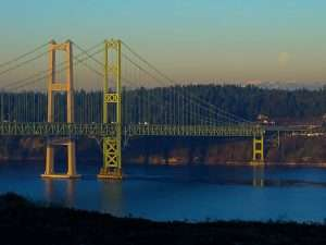 Tacoma Narrows Bridge at sunrise