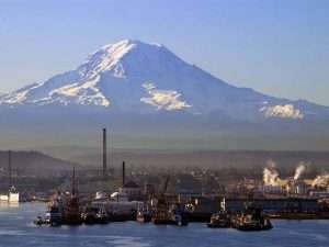 port with Mt. Rainier in background