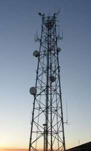 radio tower at dusk