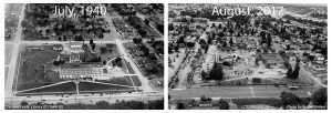 aerial site picture from 1940 and 2017